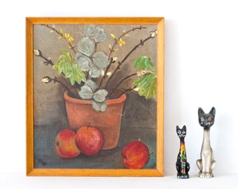 Still Life Painting - Potted Plants and Apples - Wall Art Home Decor - Picture Frames