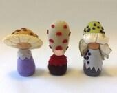 Handmade felt waldorf toys, Mushroom fairies, Made with natural wool felt, Organic toys, Imaginative play - Arius, Shaggy, and Nolin