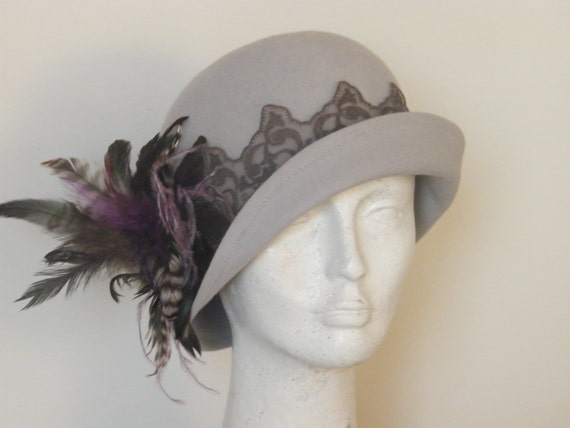 Custom order - Light gray cloche hat for women -  Downton Abbey 20s felt hat - Gatsby winter hat handmade by Rana Hats Israel