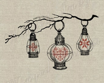 Tree Branch, Christmas Lanterns. Instant Download Digital Image No 210 Iron-On Transfer to Fabric (burlap, linen) Paper Prints (cards, tags)