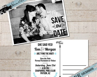 Vintage Save the Date Photo Postcard