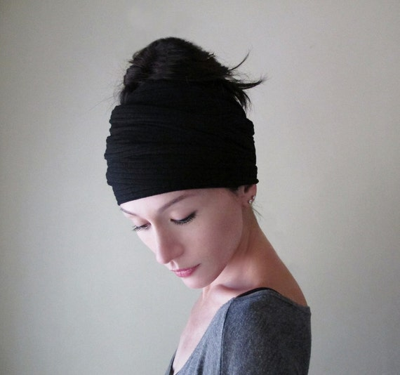 BLACK Ear Warmer - Thick Knit Hair Wrap - Black Ribbed Knit Head Scarf - Womens Hair Accessories - Cold Weather Accessory