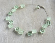 Recycled Glass Bead Necklace. Green Depression Glass. Handmade recycled glass beads.