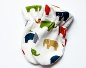Certified organic baby mitten, multi colored elephant, cotton knit mitten, Baby gloves