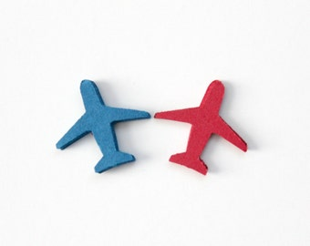 Red Blue Airplane Die Cuts - Airplane Birthday Party - Table Decor - Baby Shower - Airplane Confetti - Set of 40