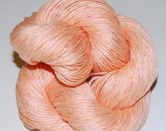 Peach- Linen 100%,handdyed yarn 100g