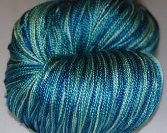 Blue spruce intense- Mulberry silk 100% (2ply ,) handdyed yarn