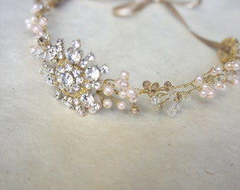 Crystal and Pearl Headband, Crystal Headband, Pearl Headband, Bridal Hair Vine, Wedding Wreath, Pearl and Crystal Halo, Boho Headband, Tiara