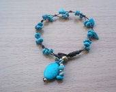 Blue turquoise bracelet Thailand handmade jewelry on Mother's day/gift for mom new collection from Thailand/Holidays/summer/by Nannapatt