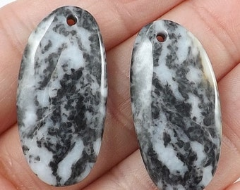 Natural white/black Zebra Jasper gemstone Earring beads,7g