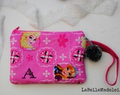 Frozen pouch, wristlet, sparkly pink Elsa and Anna pouch, pompom,