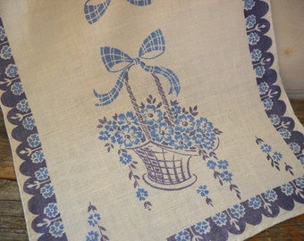 Vintage Blue Flower Basket Linen Kitchen Towel