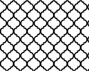 "85455 - Niagra Mills  Small 1"" Quatrefoil  cotton fabric black on white color- 1 yard"