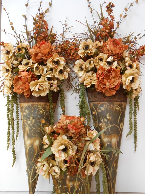 Items similar to SALE / Floral Arrangement / Table and ... on Silk Flower Wall Sconces Arrangements id=17023