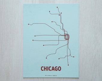 Chicago Sm Screen Print - Lt Blue/Maroon