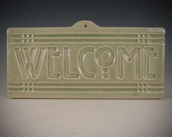Welcome Tile - Arts & Crafts Mission - Craftsman Style - celadon antique crackle glaze