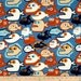 20 x 20 LAMINATED Cotton fabric pul (Laminated on the BACK) - Pet Piranha blue - Alexander Henry