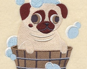 Pug in a Tub Embroidered Flour Sack Hand/Dish Towel