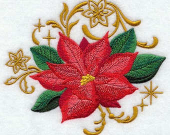 Poinsettia with Echoes Embroidered Flour Sack Hand/Dish Towel