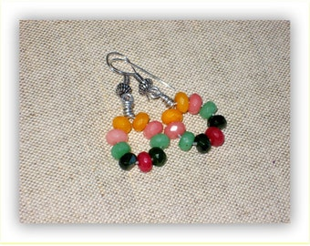 Circled Topaz Gemstone Earrings // Multicolor //  Silver earrings //