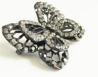 Vintage Rhinestone Japanned Black Butterfly Brooch