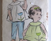 Vintage 1960's Baby Girl Toddler Top, Pants and Panties Pattern - Advance 2904 - Size Half