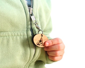 personalized ZIPPER CHARM - you choose ANY letter - custom, eco-friendly wooden name tag / zipper pull for kids' coat, backpack, lunch box