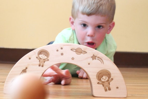 organic wood tunnel goal game - natural wooden toy set with ball and outer space tunnel - eco-friendly for toddler and preschooler