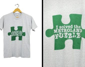 Vintage 80s Metroland T-shirt Albany NY Gray Puzzle Screen Stars - Small / Medium