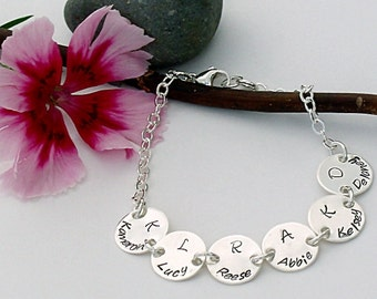 Hand stamped 6 charms personalized sterling silver bracelet