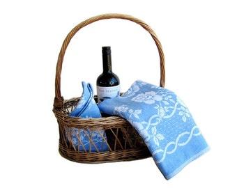 Vintage Cotton Slub Blue Damask Tablecloth and Matching Napkins Roses Design
