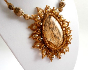 Sale ... Brown Necklace, Picture Jasper Pendant, Queen Necklace, Victorian Necklace Beadwork Necklace, OOAK jewelry