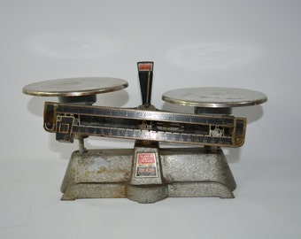 Scale. Weights. Measuring Tool. All metal and vintage. Super classic weight. Working. Teaching Tool.  Industrial Kitchen