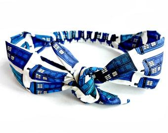 Police Box Tie Headband, Sci fi Headband made with Doctor Who fabric, Hair Bow Headband, Rockabilly Fandom Whovian Headband