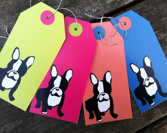 TEN Boston terrier gift tags, scrapbooking tags, choice of color