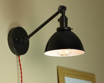 Industrial Wall Lamp w/ Black Shade - Articulating Wall Sconce Lighting - Hand Finished in Oil Rubbed Bronze