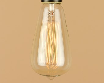 Edison Style Light Bulb for Pendants, Semi Flush Lights - Reproduction Clear Glass Bulb - Squirrel Cage Filament - 30W, 60W - Vintage Style