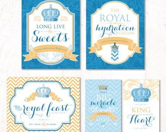 Royal Prince Baby Shower - Instant Download PRINTABLE Party Signs (Blue & Gold)