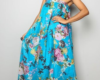 Summer Dress / Blue Flower Print Maxi Dress   : Flower Blossom Collection  (Original Design Since March 2011)