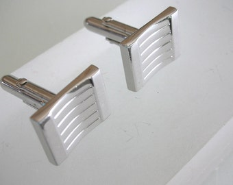 Swank Silver Square Cuff Links Modernist Cuff Links cufflinks from The Back Part of the Basement FREE US SHIPPING