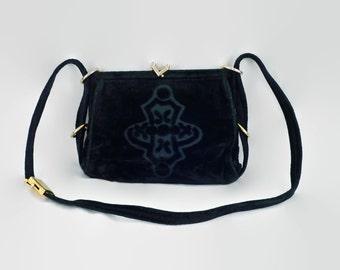 Vintage Italian 'Mazzini' Black Velvet Handbag