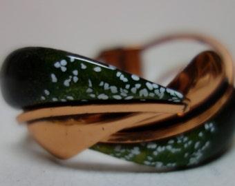 MATISSE -RENOIR Green Enamel & Copper Clamper Bracelet MOD
