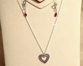 Sterling Silver Hammered Heart Necklace and Ear Threads Set
