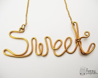 Sweet Wire Necklace Gold - By The Fuzzy Pineapple