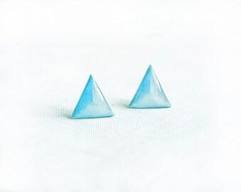 Light blue stud earrings Geometric jewelry triangle stud earrings statement studs