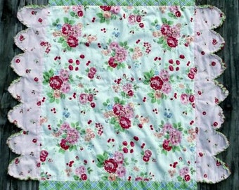 Sweet Roses Baby Quilt, Bunting, and Coaster Set