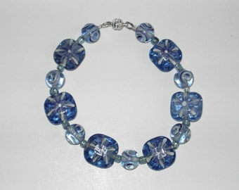 Handpainted Blue  Lampwork  bracelet (#420). Free shipping in USA