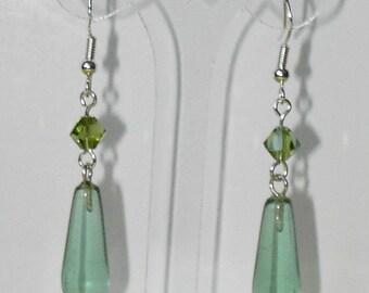 Green Crystal earrings (#443)