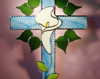 Stained Glass Suncatcher Cross with Lily  (438)