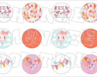 Made to Match Gymboree M2MG Pinwheel Pastels bottlecap image sheet